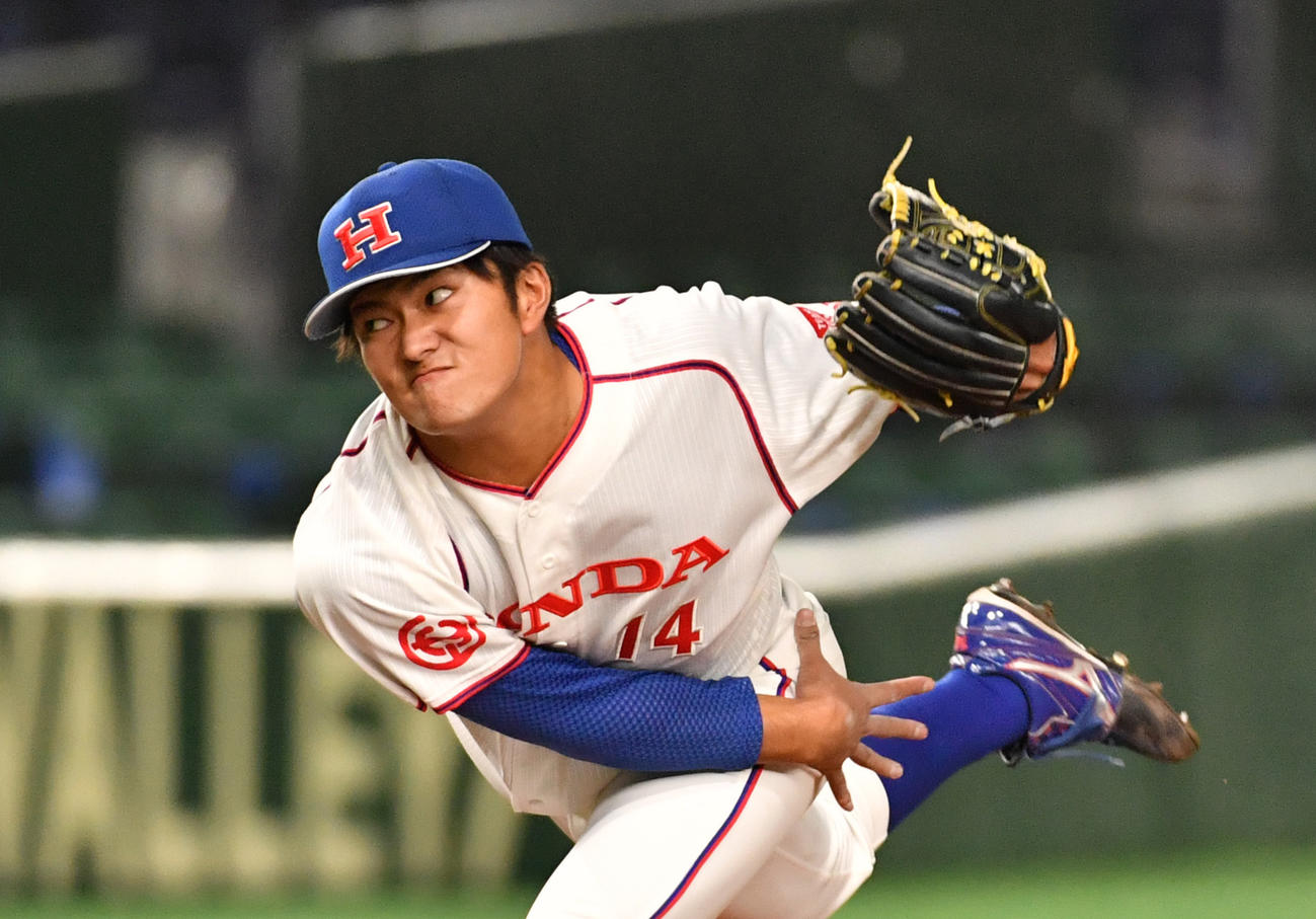 決勝NTT東日本対ホンダ 先発したホンダ・朝山(撮影・柴田隆二)