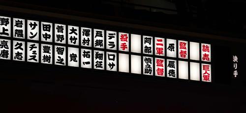 巨人シーズン感謝祭が行われる両国国技館の電光掲示板に名前が表示される(撮影・江口和貴)