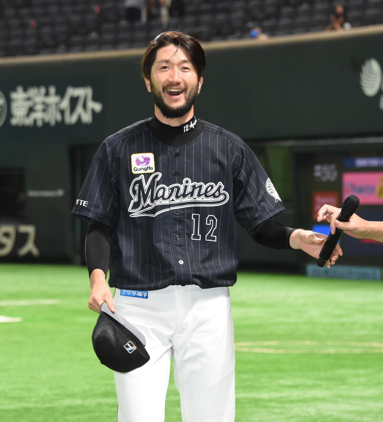 9月4日、ソフトバンク戦で6勝目を飾り笑顔の石川