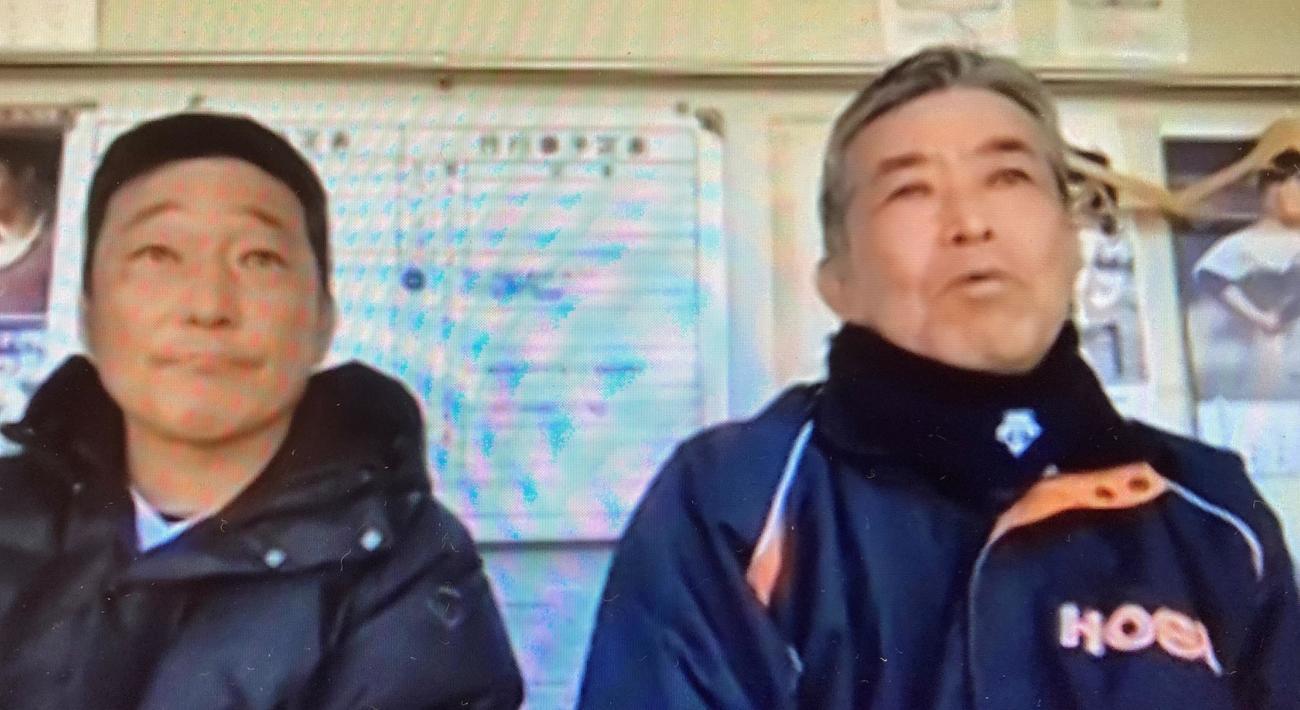 オンライン会見に臨む法大・加藤監督(右)と大島助監督