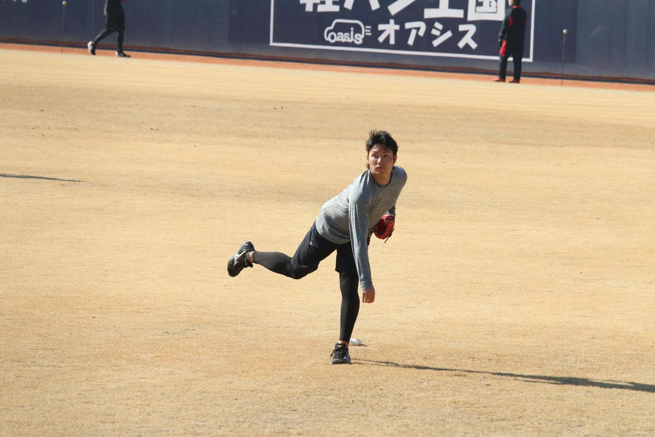 キャッチボールする日本ハム伊藤(撮影・田中彩友美)