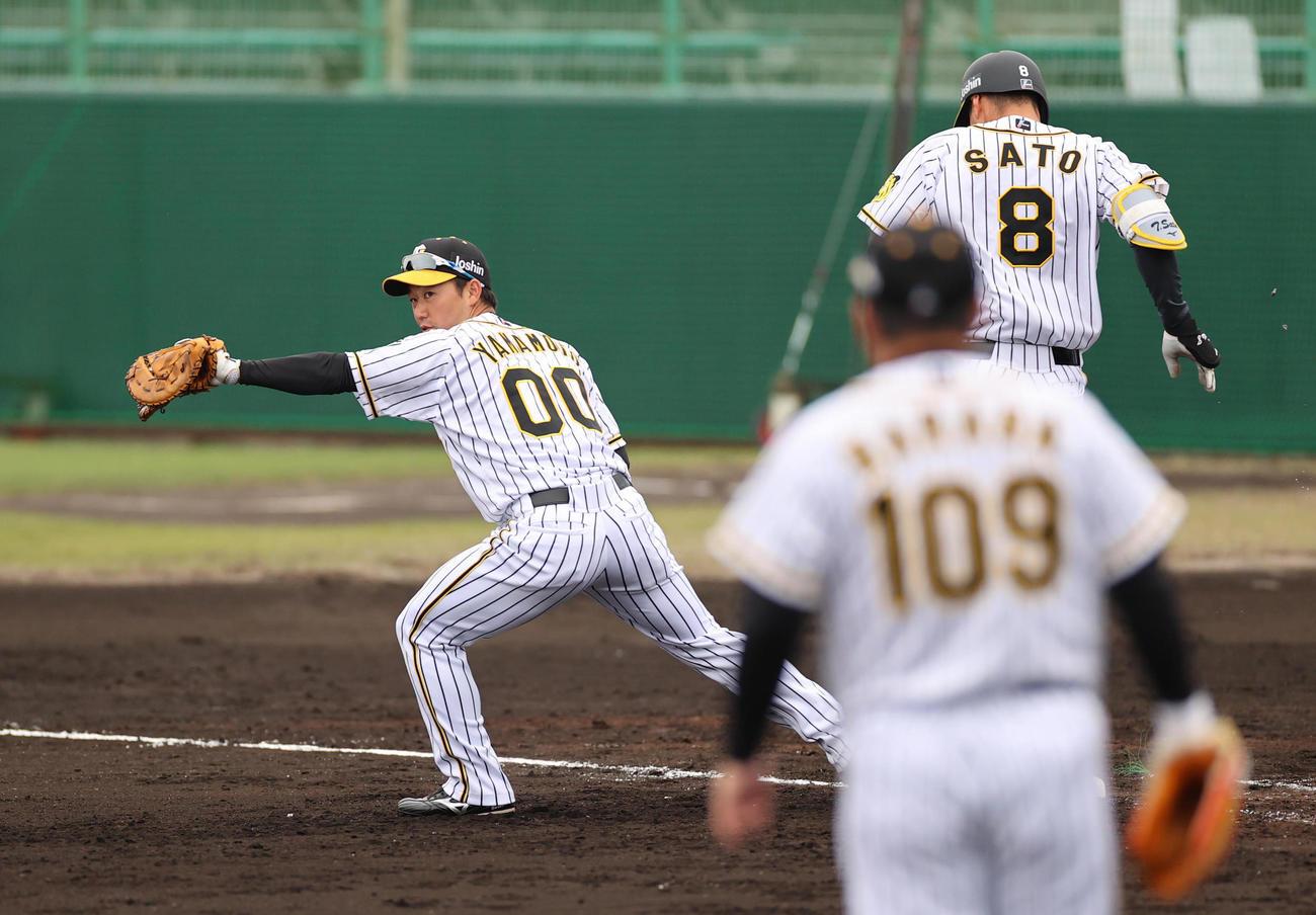 ケース打撃で一塁の守備に就く山本泰寛(撮影・清水貴仁)
