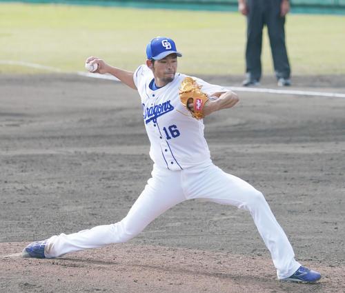 中日対広島 6回表、力投する中日2番手で登板する又吉克樹(撮影・森本幸一)