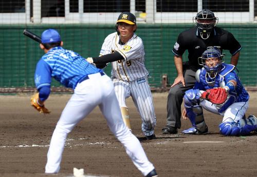 阪神対DeNA 4回裏阪神無死二塁、高山は右前打を放つ、左は阪口(撮影・加藤哉)
