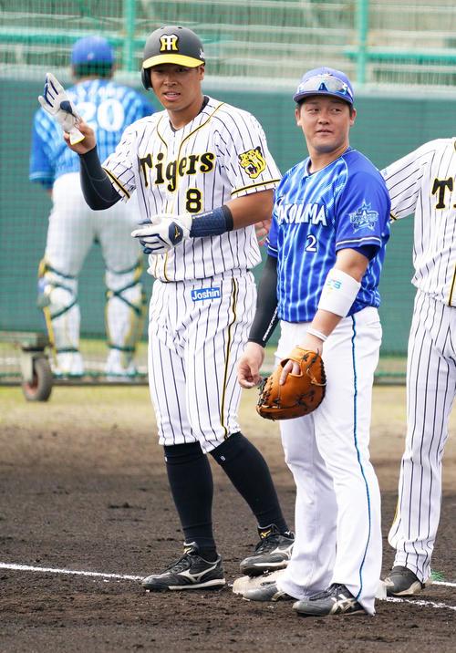練習試合 阪神対DeNA 1回裏阪神2死、四球で出塁する佐藤輝明(左)、右は牧秀悟(撮影・清水貴仁)