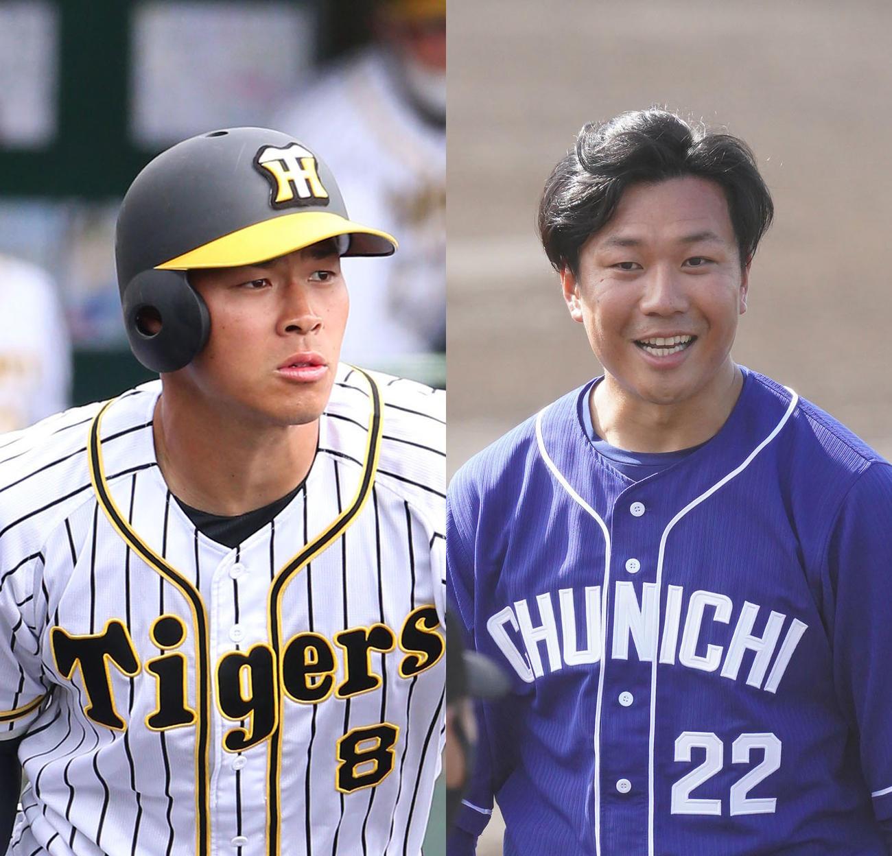 阪神佐藤輝(左)と中日大野雄