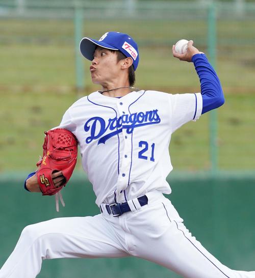 練習試合・中日対阪神 4回表、中日4番手で登板する岡田俊哉(撮影・森本幸一)