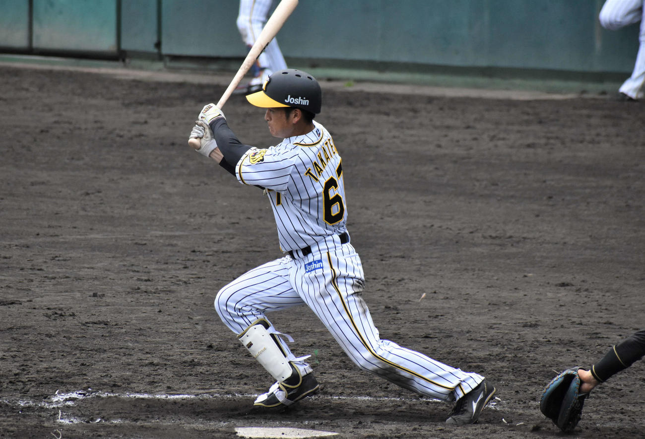 阪神2軍対四国IL高知 7回2死一塁で右前打を放つ阪神ドラフト7位の高寺(撮影・只松憲)
