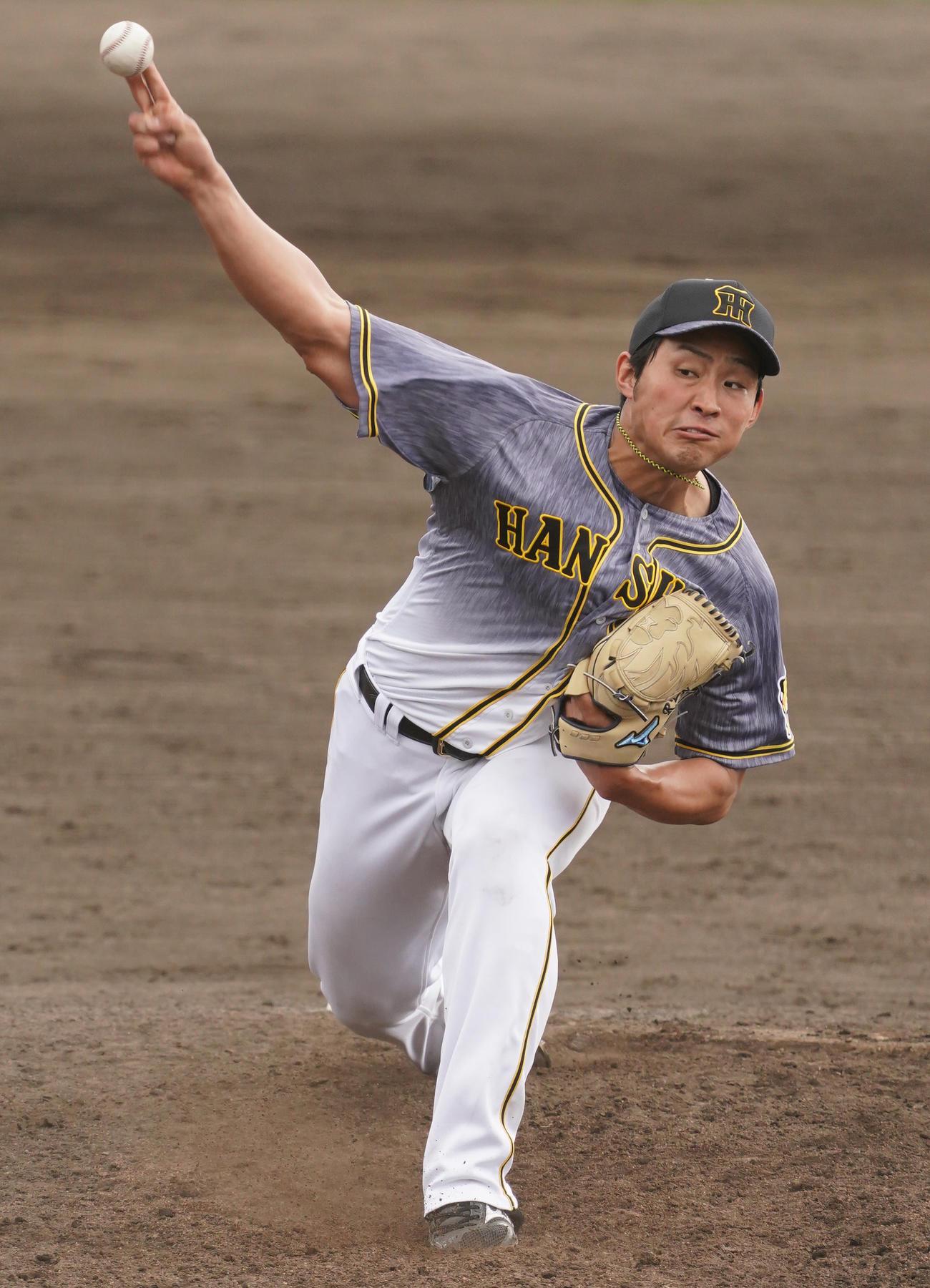 練習試合ヤクルト対阪神 8回に登板する佐藤蓮(撮影・清水貴仁)