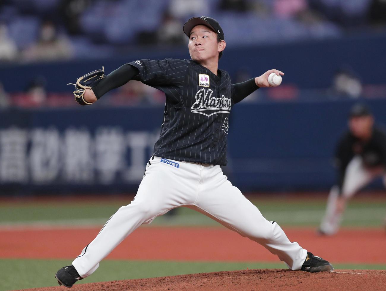 オリックス対ロッテ ロッテ先発の中村稔弥(撮影・前田充)