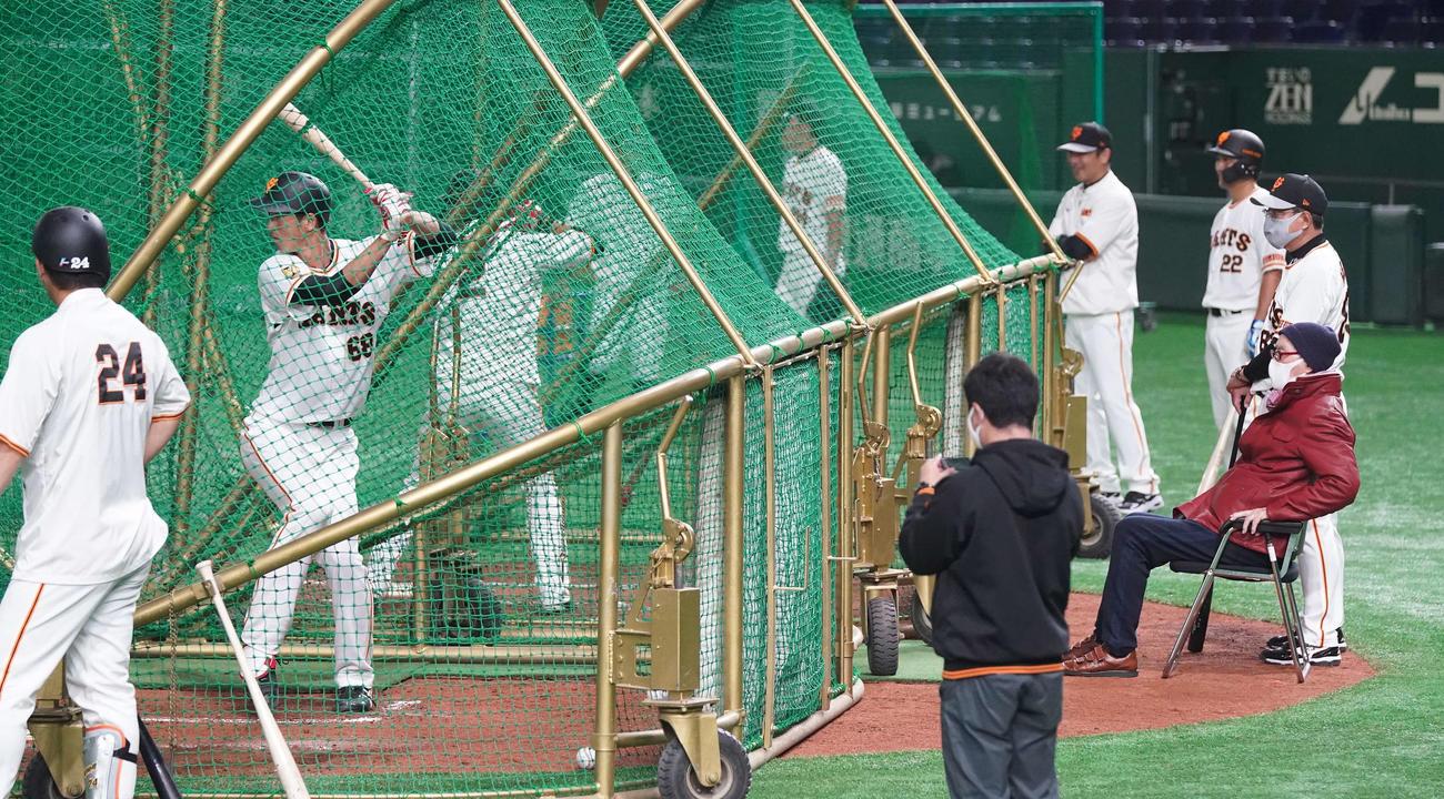 打撃練習する巨人秋広(左から2人目)を見つめる長嶋終身名誉監督(右端手前)と原監督(撮影・江口和貴)