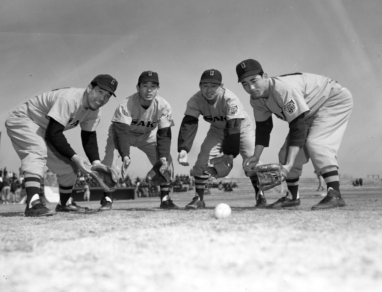 左から渡辺博之一塁手、白坂長栄二塁手、吉田義男遊撃手、三宅秀史三塁手(1957年2月16日撮影)