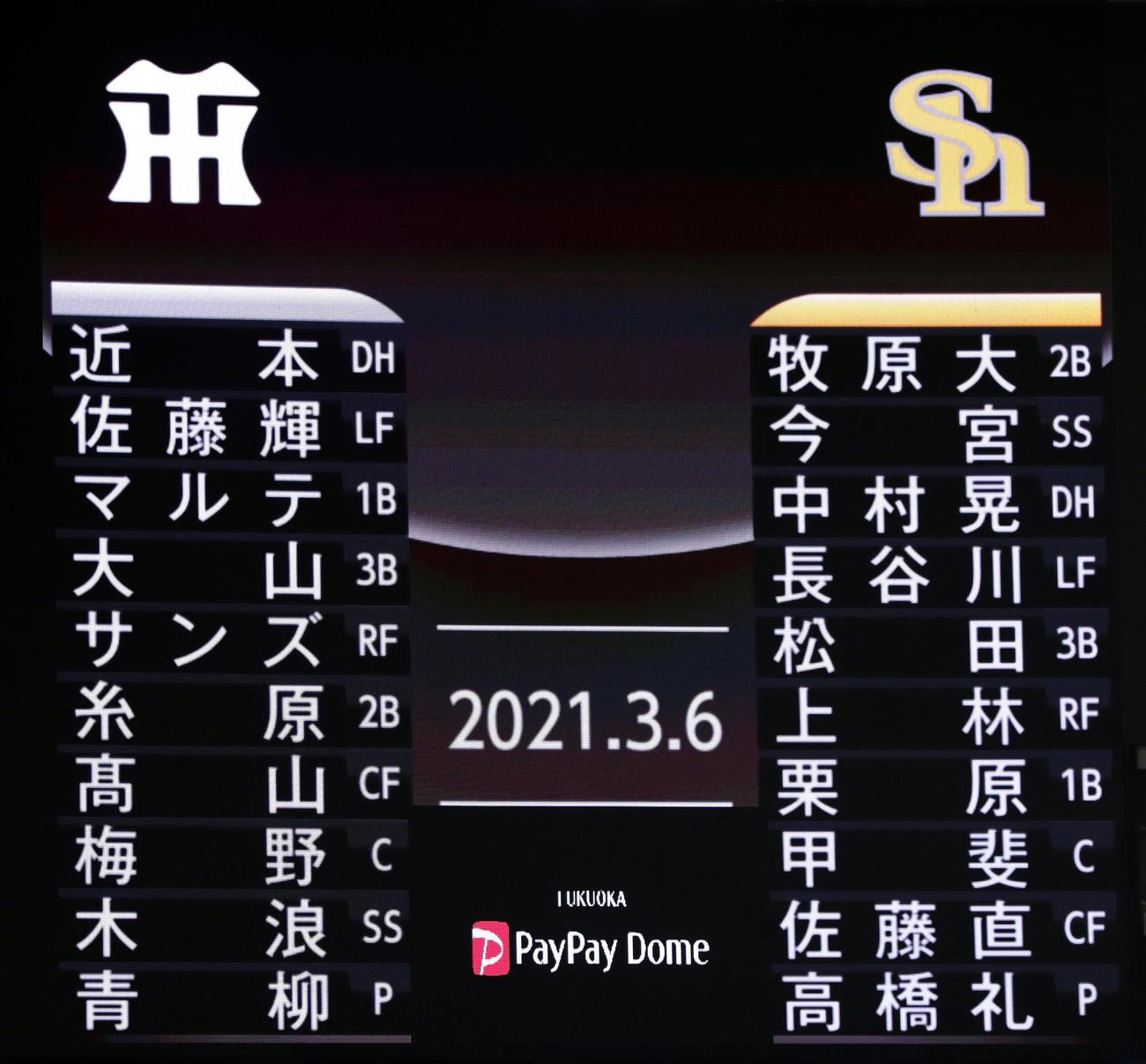 ソフトバンク対阪神 両チームのスターティングメンバー(撮影・前田充)