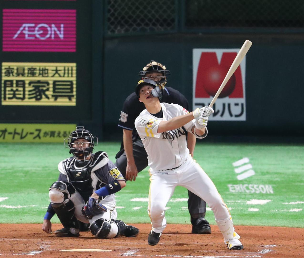 ソフトバンク対阪神 6回裏ソフトバンク1死、真砂勇介は右中間に本塁打を放つ(撮影・梅根麻紀)