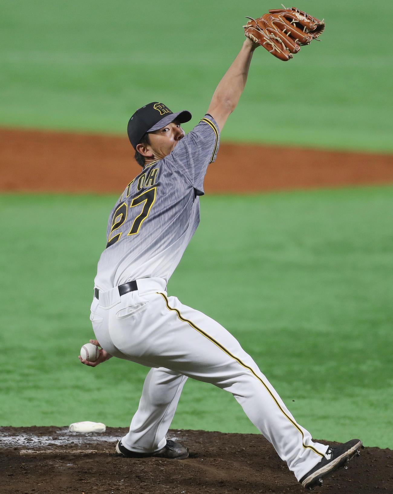 ソフトバンク対阪神 5回裏から2番手で登板した伊藤将は、3回を1安打1失点に抑える(撮影・前田充)