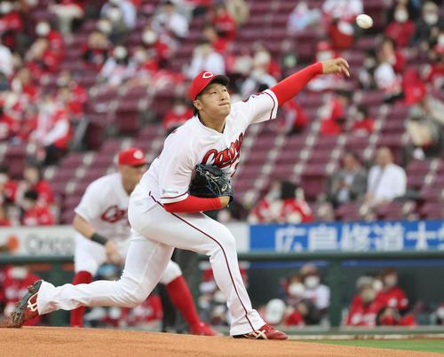プロ野球広島対阪神 広島先発の床田(撮影・加藤孝規)
