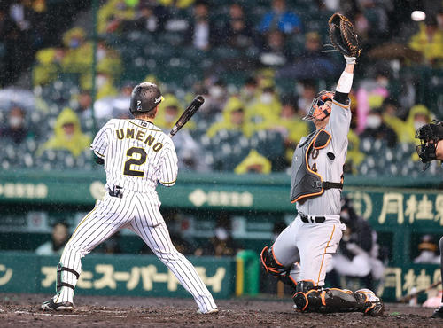 阪神対巨人 2回裏阪神無死一、二塁、打者梅野の時、サンチェスが暴投し捕球出来ない捕手大城(撮影・浅見桂子)