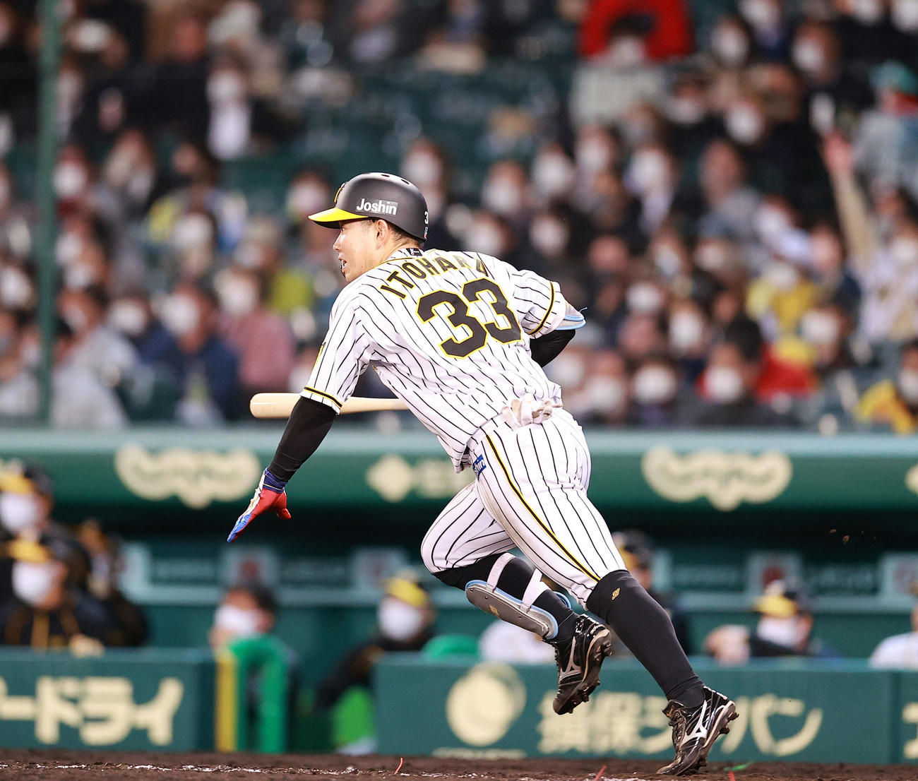 阪神対巨人 4回裏阪神2死一、三塁、糸原は中越え2点適時二塁打を放つ(撮影・浅見桂子)