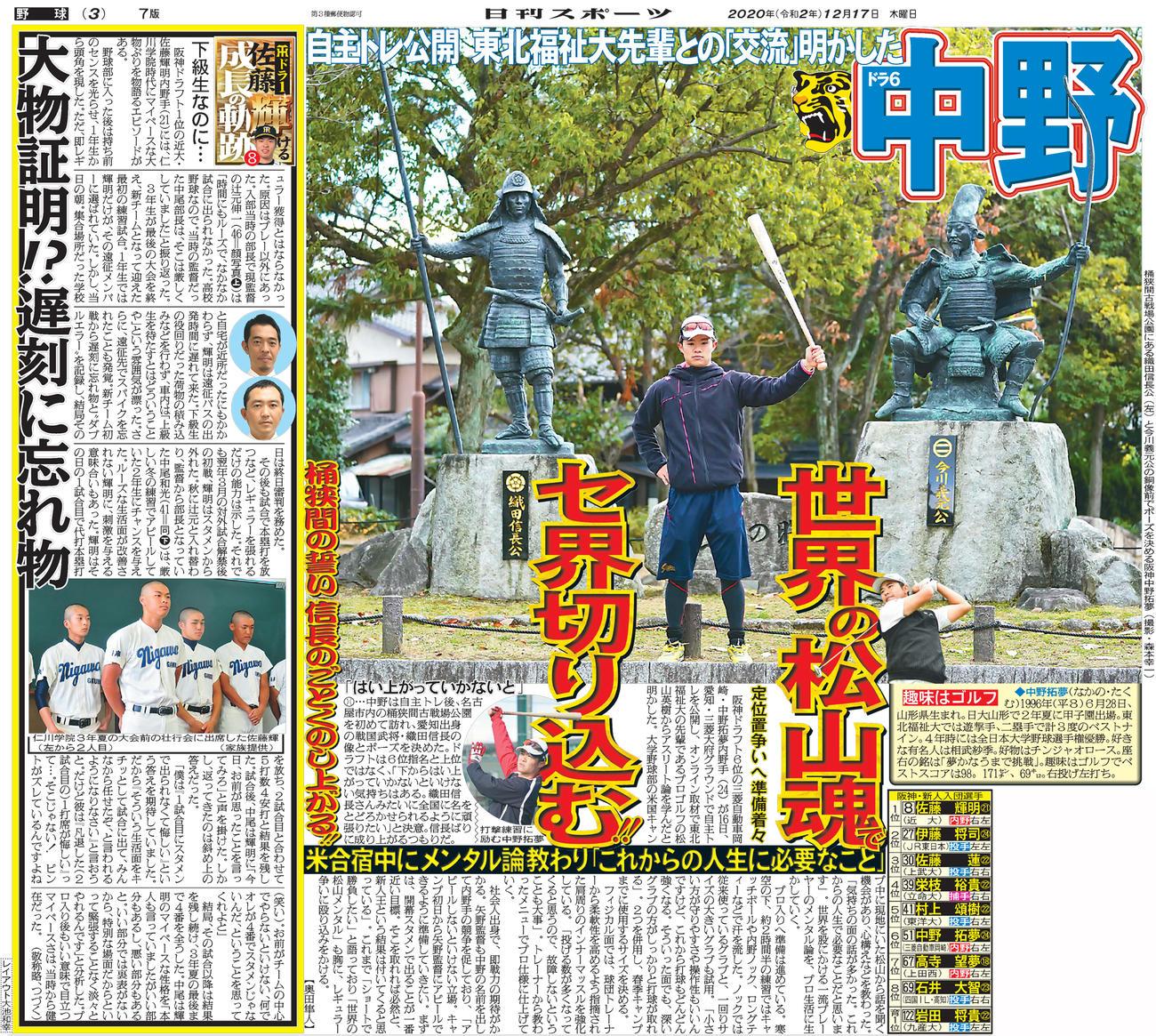 2020年12月17日付日刊スポーツ大阪版