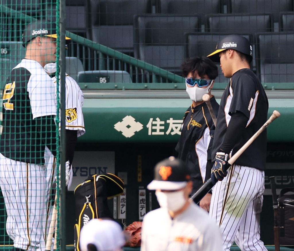 8日、巨人戦前の打撃練習でサンズ(左)と話し合う佐藤輝