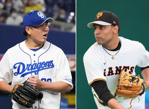 中日大野雄大(左)、巨人サンチェス