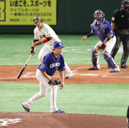 巨人対中日 3回裏巨人2死一塁、岡本和を三ゴロに仕留める大野雄(撮影・垰建太)