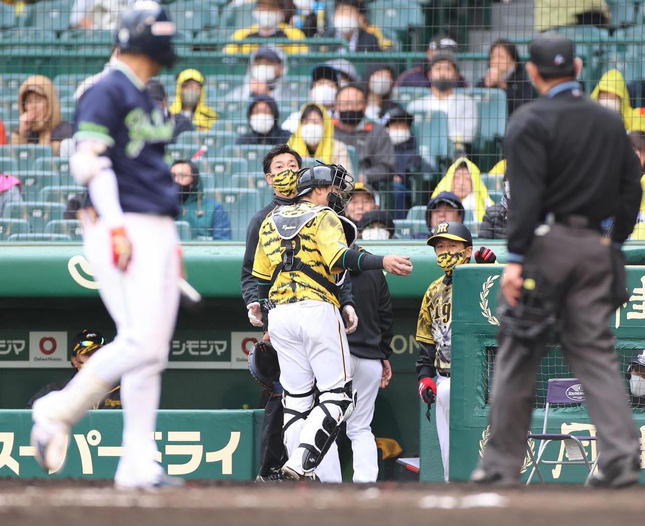 阪神対ヤクルト 7回表ヤクルト無死一塁、打者元山の時に石井大のワンバウンド投球を受けた時に負傷し交代となる捕手梅野(撮影・清水貴仁)