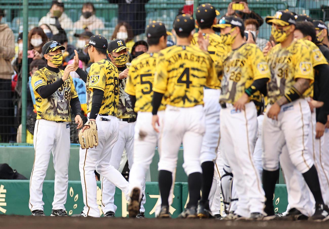 阪神対ヤクルト ヤクルトに勝利し選手を出迎える矢野監督(2021年4月18日撮影)