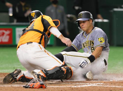 巨人対阪神 7回表阪神2死満塁、梅野の2点適時二塁打で本塁を狙った一塁走者佐藤輝(右)は本塁アウトとなる(撮影・足立雅史)
