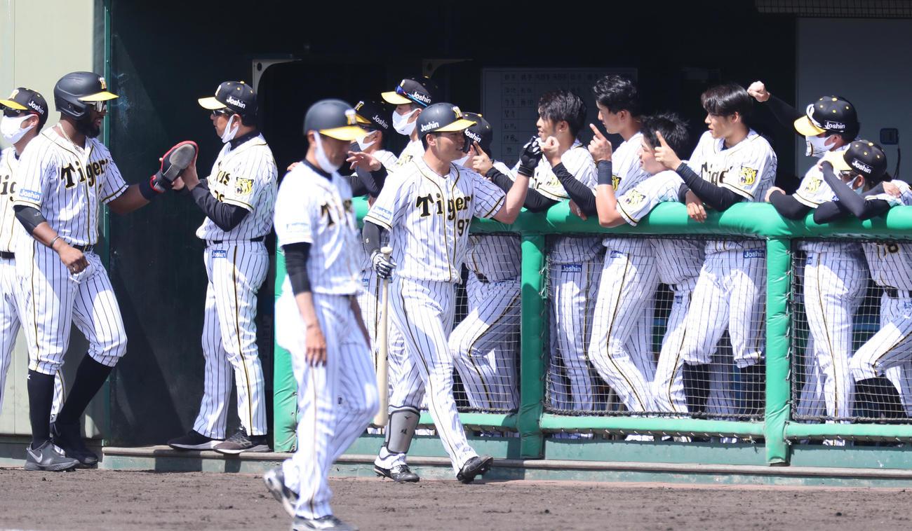 2軍ソフトバンク戦で阪神小野寺は左越え2点本塁打を放ちナインとエアタッチをかわす(代表撮影)