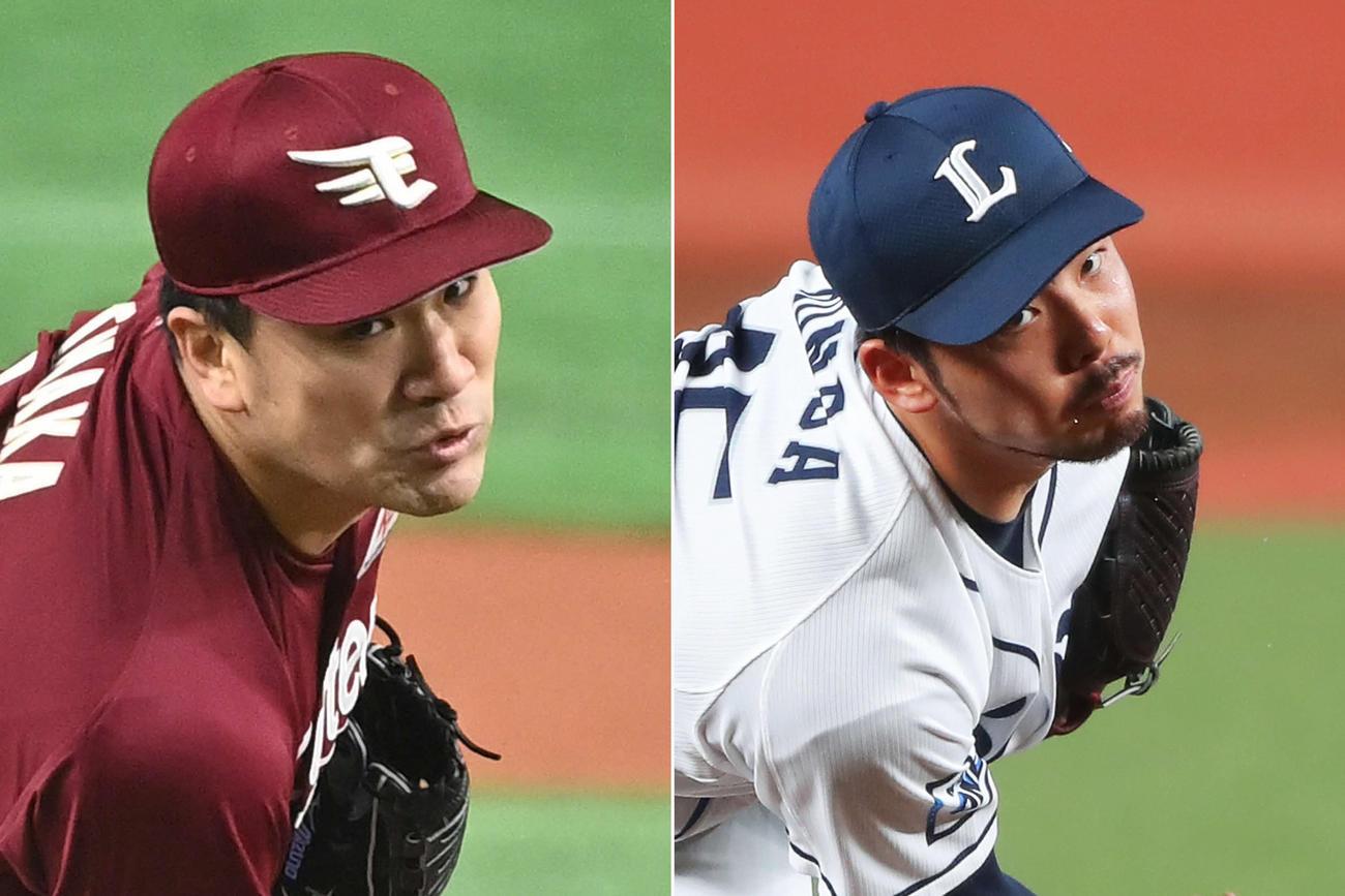 田中将大(左)本田圭佑