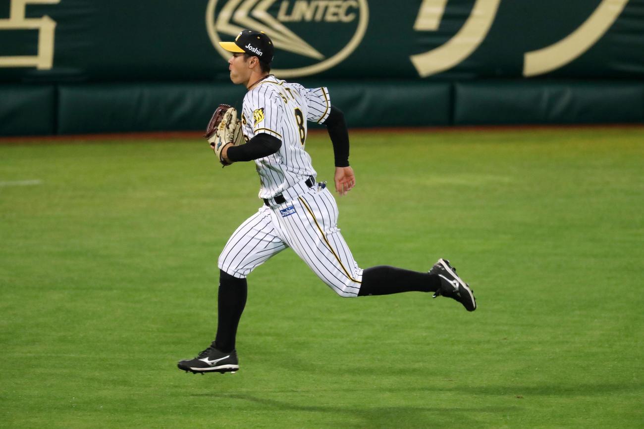 佐藤輝明は神里和毅の打球を後逸しフェンスまで走る(撮影・加藤哉)