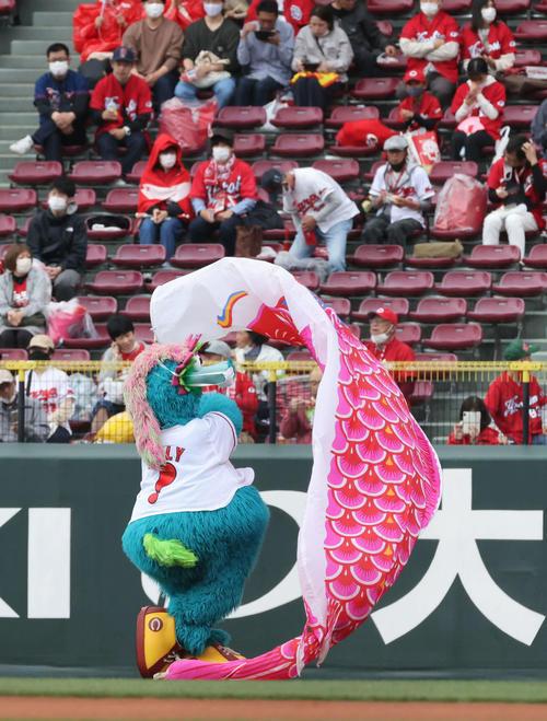 広島対巨人 試合前、こいのぼりを泳がすスラィリー(撮影・加藤孝規)
