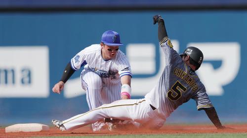 DeNA対阪神 4回表阪神2死一塁、打者マルテが見逃し三振に倒れ、二盗に失敗する近本。二塁手牧(撮影・前田充)