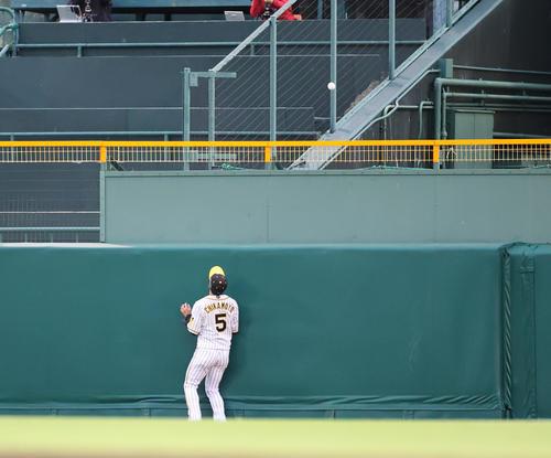 阪神対中日 2回表中日無死一塁、高橋周の打球は中越えの2点本塁打となる(撮影・清水貴仁)