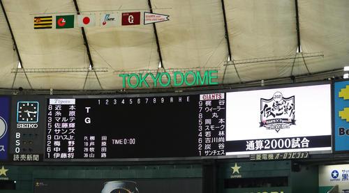 巨人対阪神 「伝統の一戦」2000試合目の両チームスタメン(撮影・足立雅史)