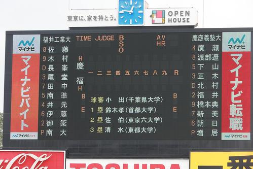 慶大対福井工大 両校のスターティングメンバー(撮影・野上伸悟)