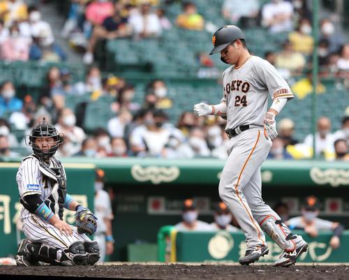 阪神対巨人 4回表巨人2死、大城(右)は右越え本塁打を放ち生還する。左は捕手梅野(撮影・上山淳一)