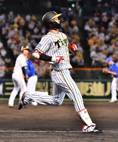 阪神対DeNA 8回裏阪神1死一、三塁、二塁併殺打に倒れる中野(撮影・上田博志)