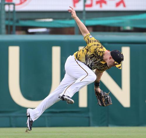 阪神対DeNA 1回表DeNA2死一塁、オースティンの打球を地面すれすれで捕球する左翼手サンズ(撮影・清水貴仁)
