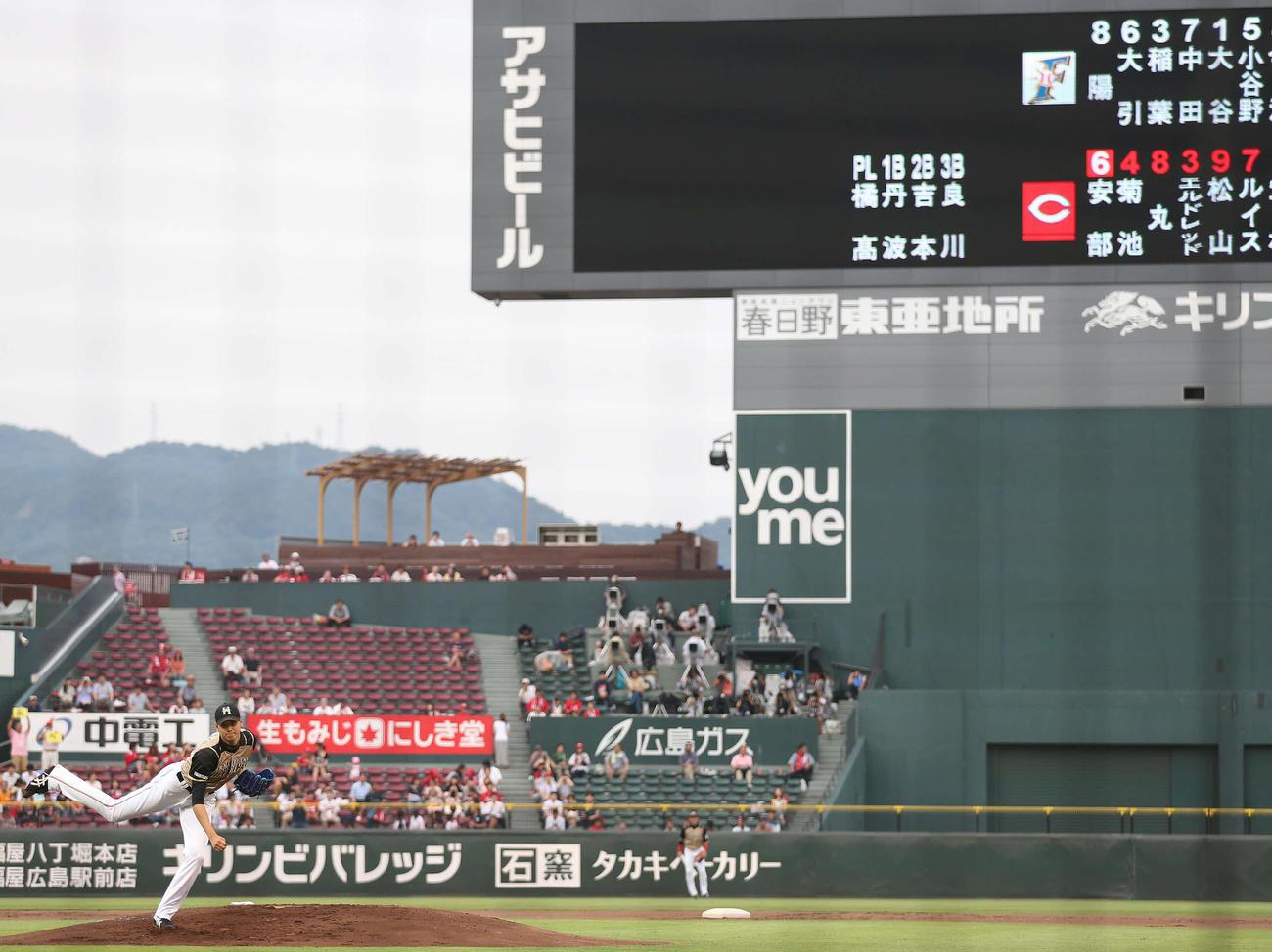 5番投手で先発した大谷翔平。投げては4回3失点も157キロを記録(2013年6月18日、撮影・井上学)