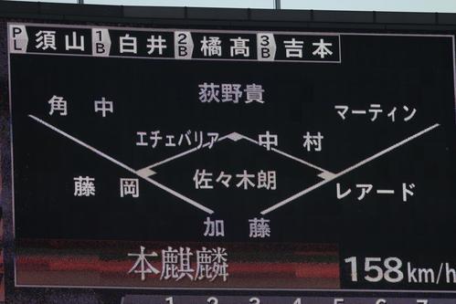 ロッテ対楽天 2回表楽天1死、鈴木に対しての佐々木朗の球速158を表示する電光掲示板(撮影・垰建太)