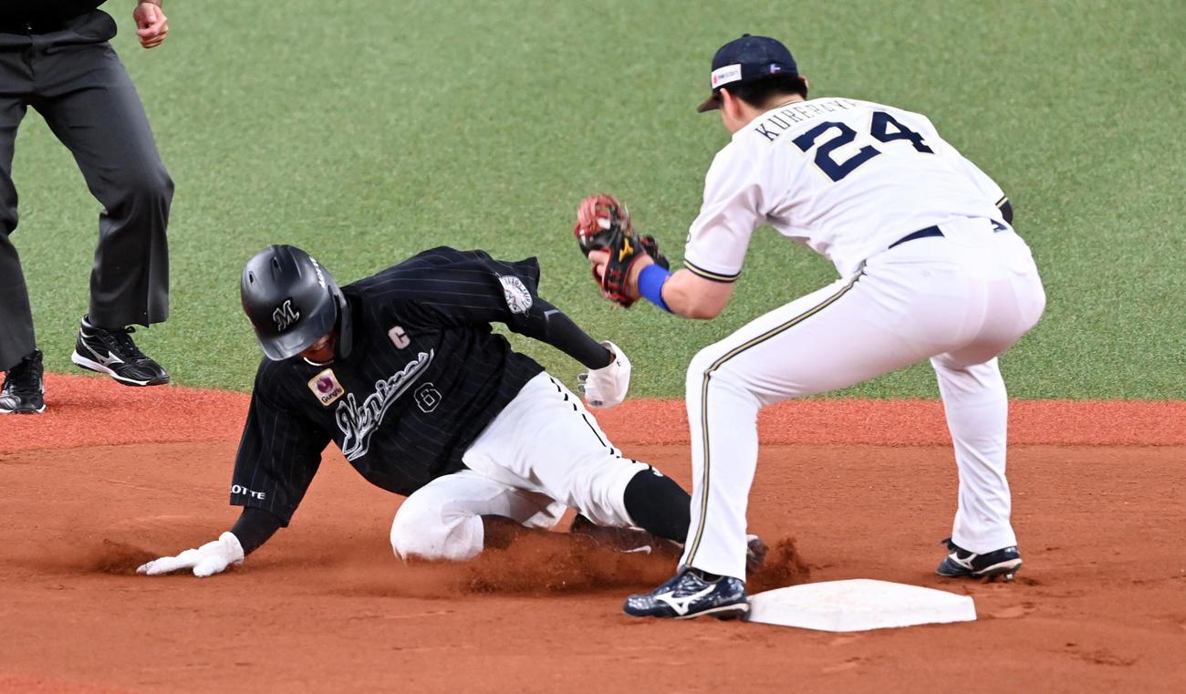 オリックス対ロッテ 6回表ロッテ1死一塁、中村奨は二塁盗塁に失敗。野手紅林(撮影・前岡正明)