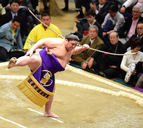 弓取り式に臨む将豊竜(撮影・小沢裕)