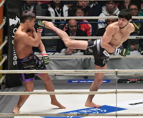 1回、大尊(左)に蹴りを放つムサエフ(撮影・滝沢徹郎)