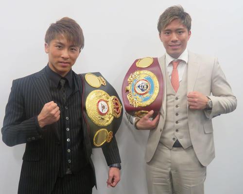 井上尚弥(左)と伊藤雅雪(2019年3月17日撮影)