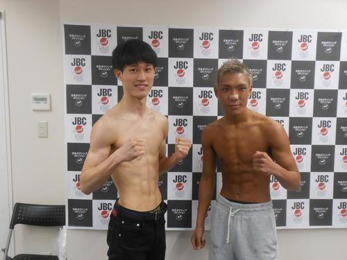 計量をクリアした牛島龍吾(左)と亀田京之介