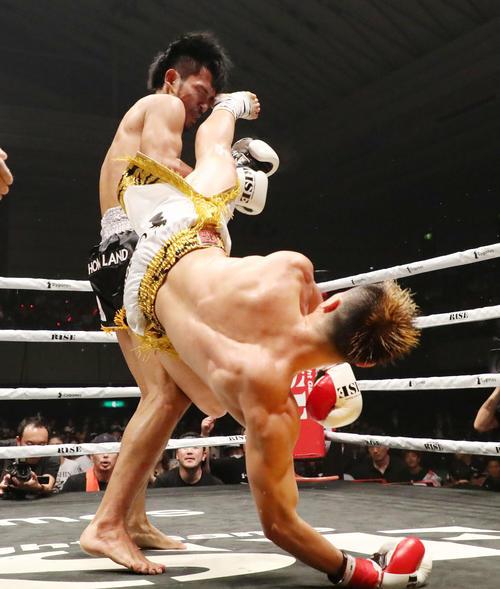 那須川天心対スアキム 3回、回し蹴りがスアキムの顔面に当たりTKOで勝利した那須川(撮影・加藤哉)