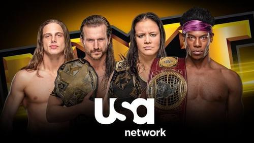 NXTで活躍する選手たち。左からリドル、NXT王者コール、NXT女子王者ベイズラー、XXT北米王者ドリーム(C)2019 WWE, Inc. All Rights Reserved