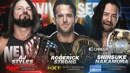 3WAYマッチで対戦することが決まった中邑真輔(右)。左はAJスタイルズ、中央はロデリック・ストロング(C)2019 WWE, Inc. All Rights Reserved